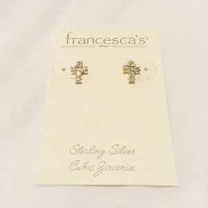 NWT Francesca's Sterling Silver Cross Earrings